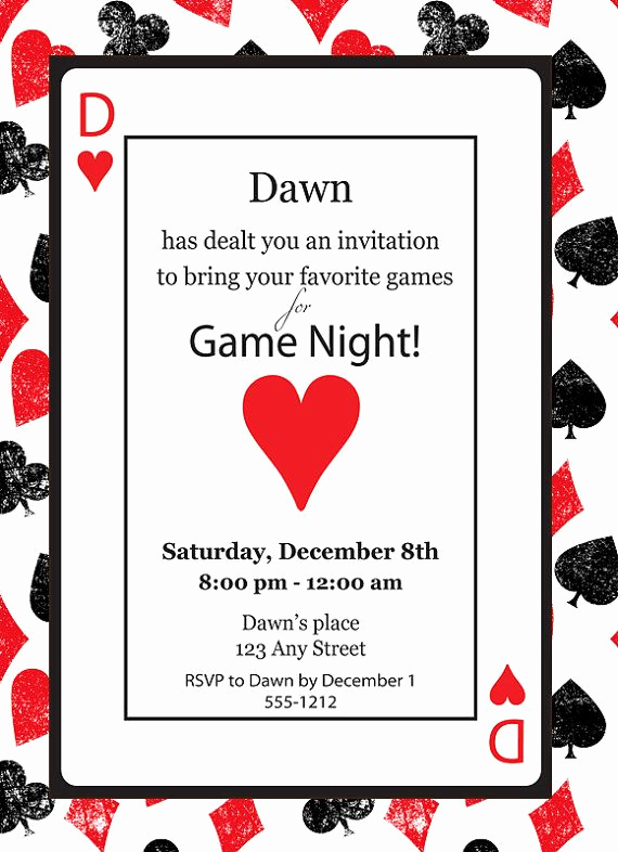 Playing Card Invitation Template Free Fresh Game Night Casino Playing Card Poker Queen Of Hearts