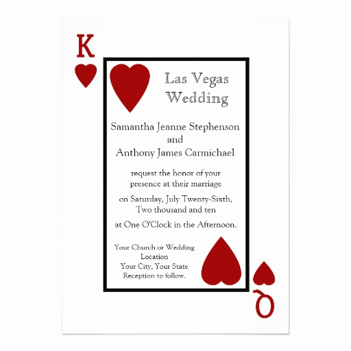 Playing Card Invitation Template Free Lovely Personalized Las Vegas Wedding Invitations