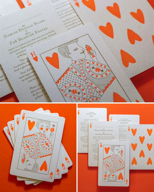 Playing Card Invitation Template Free Luxury Neon orange Gold Letterpress Playing Card Wedding