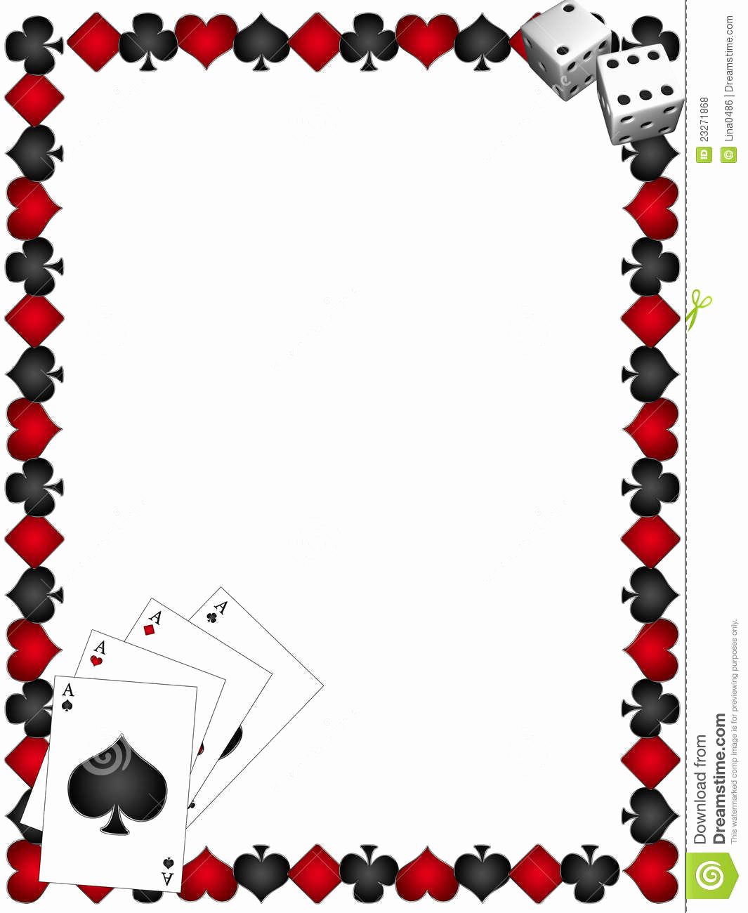 Playing Card Invitation Template Free Unique Playing Cards with Border Stock Illustration Image Of