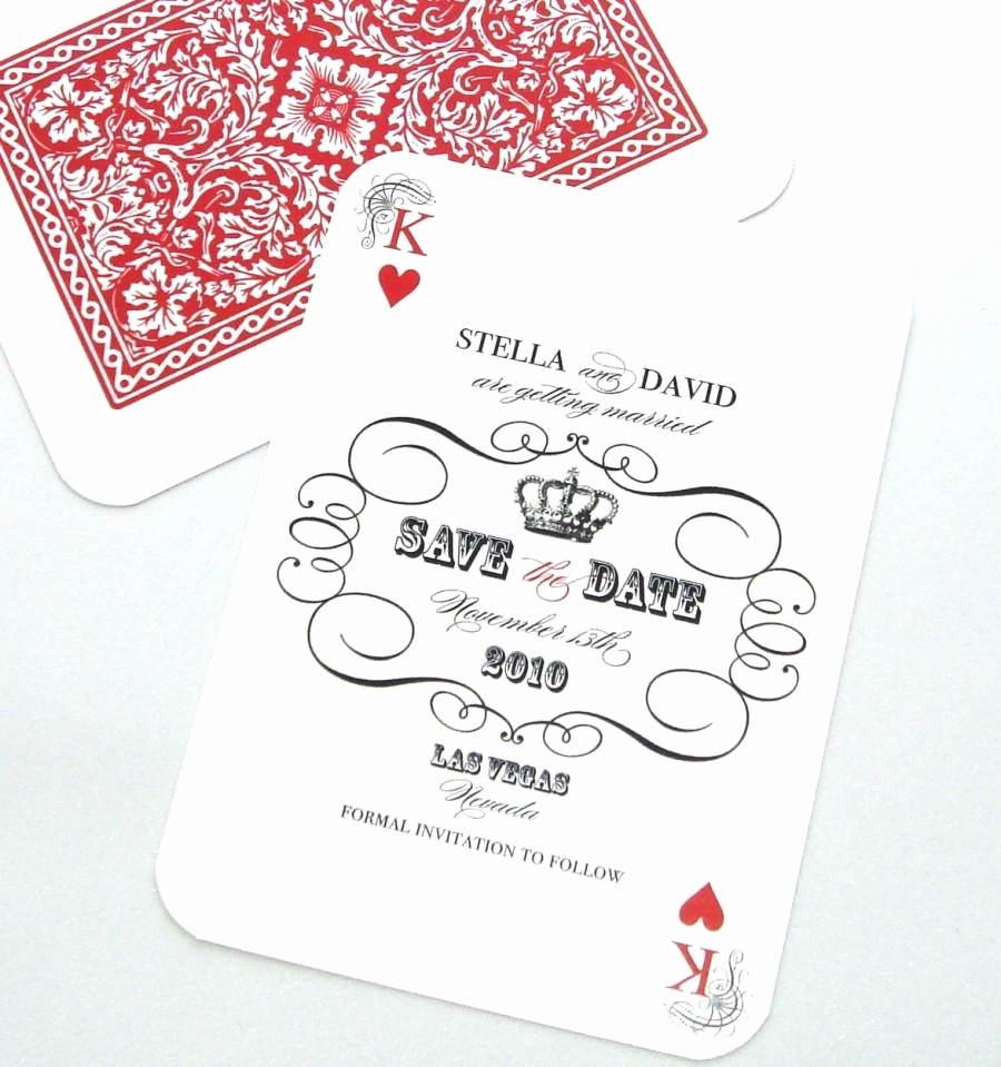 Playing Card Invitation Template Fresh Las Vegas Wedding Save the Date Casino Invitation