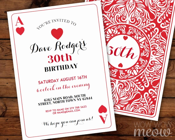 Playing Card Invitation Template Fresh Playing Cards Birthday Invitation Any Age Instant Download