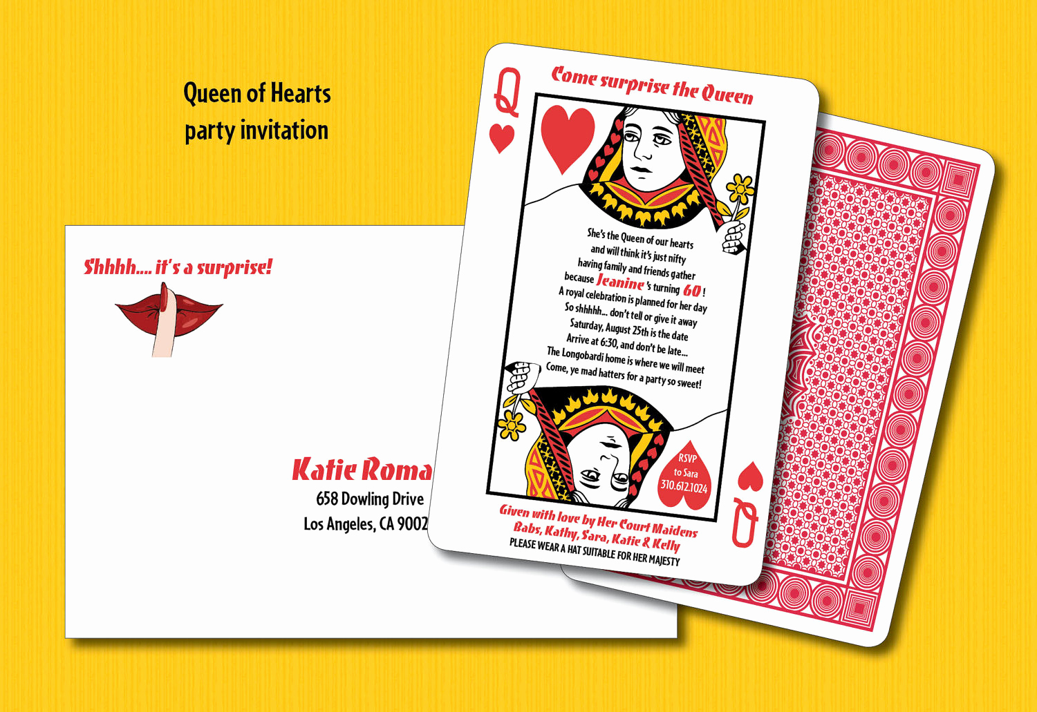 Playing Card Invitation Template Lovely 15 Queen Of Hearts Party Invitation Playing Card Design 2