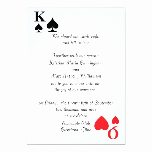 Playing Card Invitation Template Lovely Kings & Queens Playing Card Wedding Invitation 4