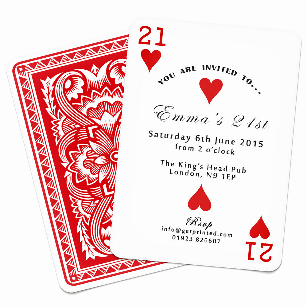 Playing Card Invitation Template Lovely Personalised Playing Card Invitations Birthday Party