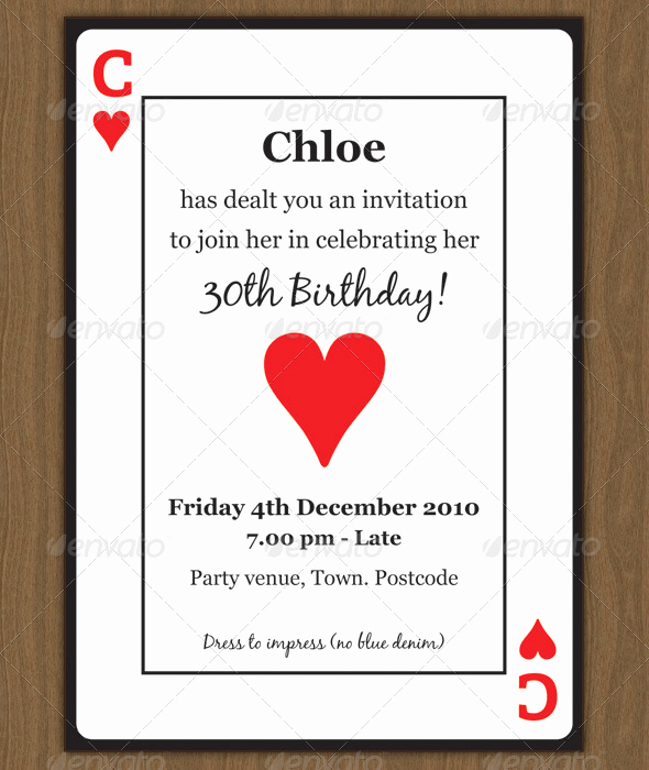 Playing Card Invitation Template Luxury Playing Card Invitation by Chloeb