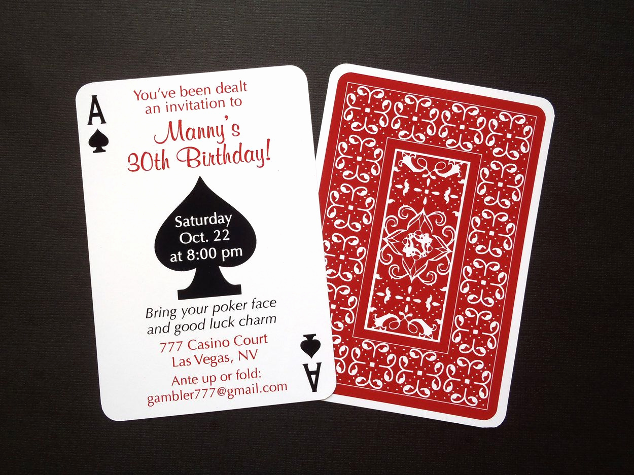 Playing Card Invitation Template Luxury Set Of 24 Casino Night Poker Playing Card theme Birthday