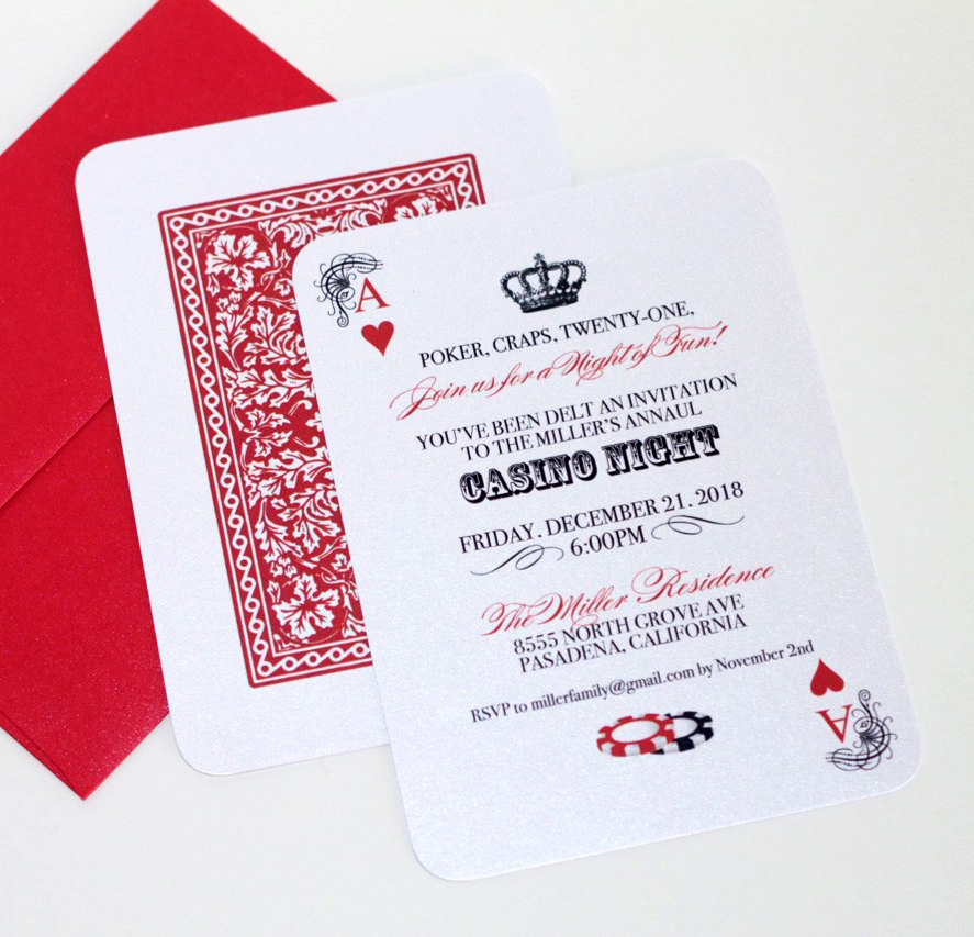 Playing Card Invitation Template New Casino Invitation Playing Card Invitation Casino Night