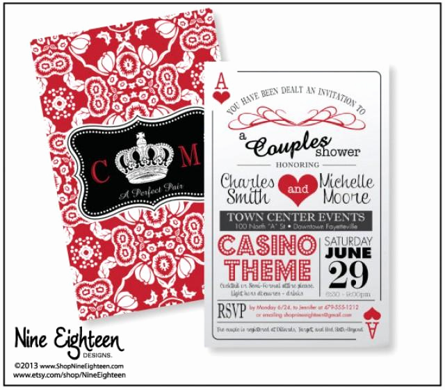"Playing Card Invitation Template Unique Trendy ""casino theme"" Couple S Shower Invitation 2sided"