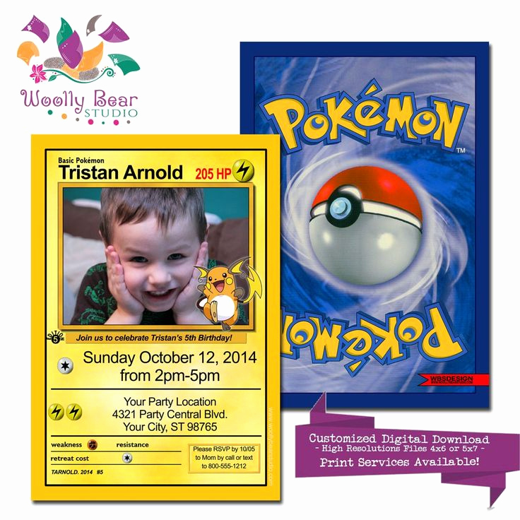 Pokemon Birthday Invitation Templates Elegant Pokemon Card Birthday Invitation