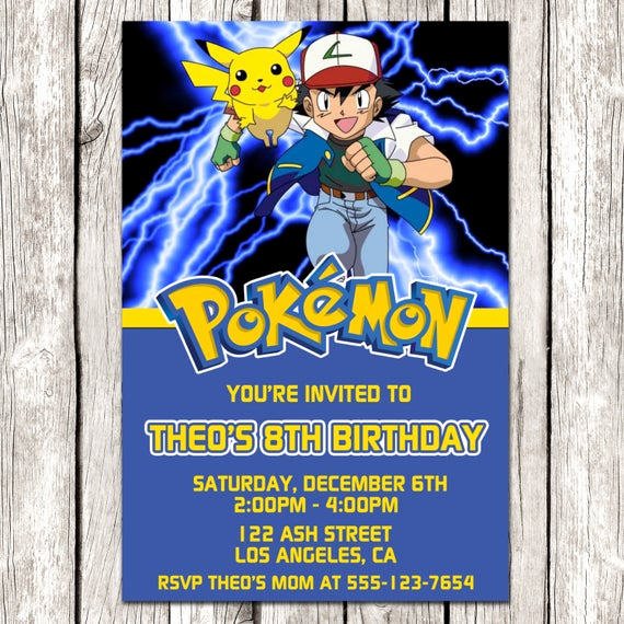 Pokemon Birthday Invitation Templates Elegant Pokemon Invitation Pokemon Birthday Party Diy Printable