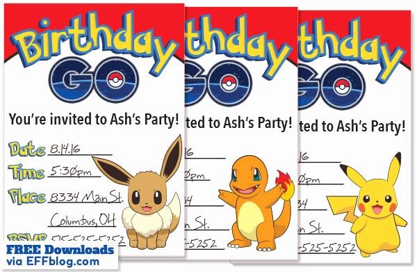 Pokemon Birthday Invitation Templates Free Awesome Pokémon Go Birthday Go Free Printable Invitations