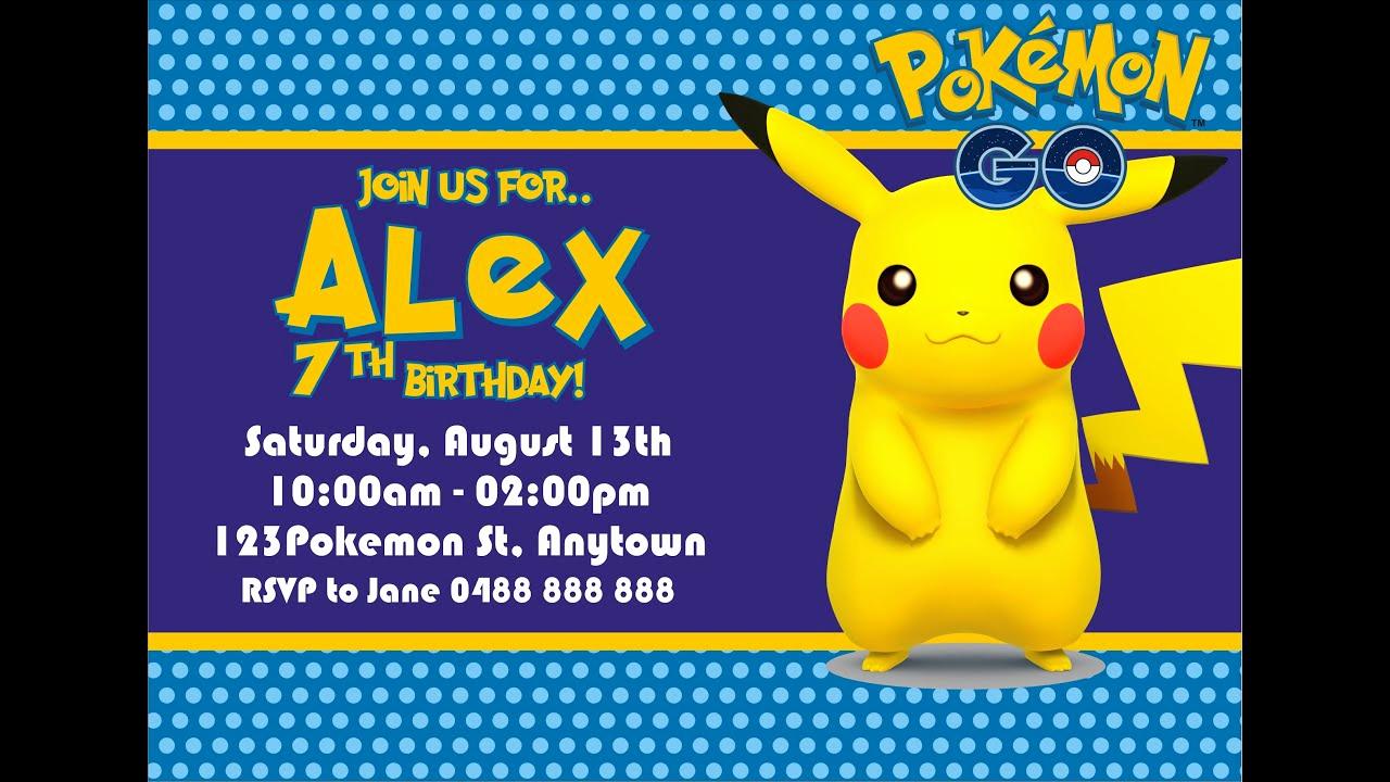 Pokemon Birthday Invitation Templates Free Beautiful How to Make Pokemon Go Birthday Invitation In Coreldraw