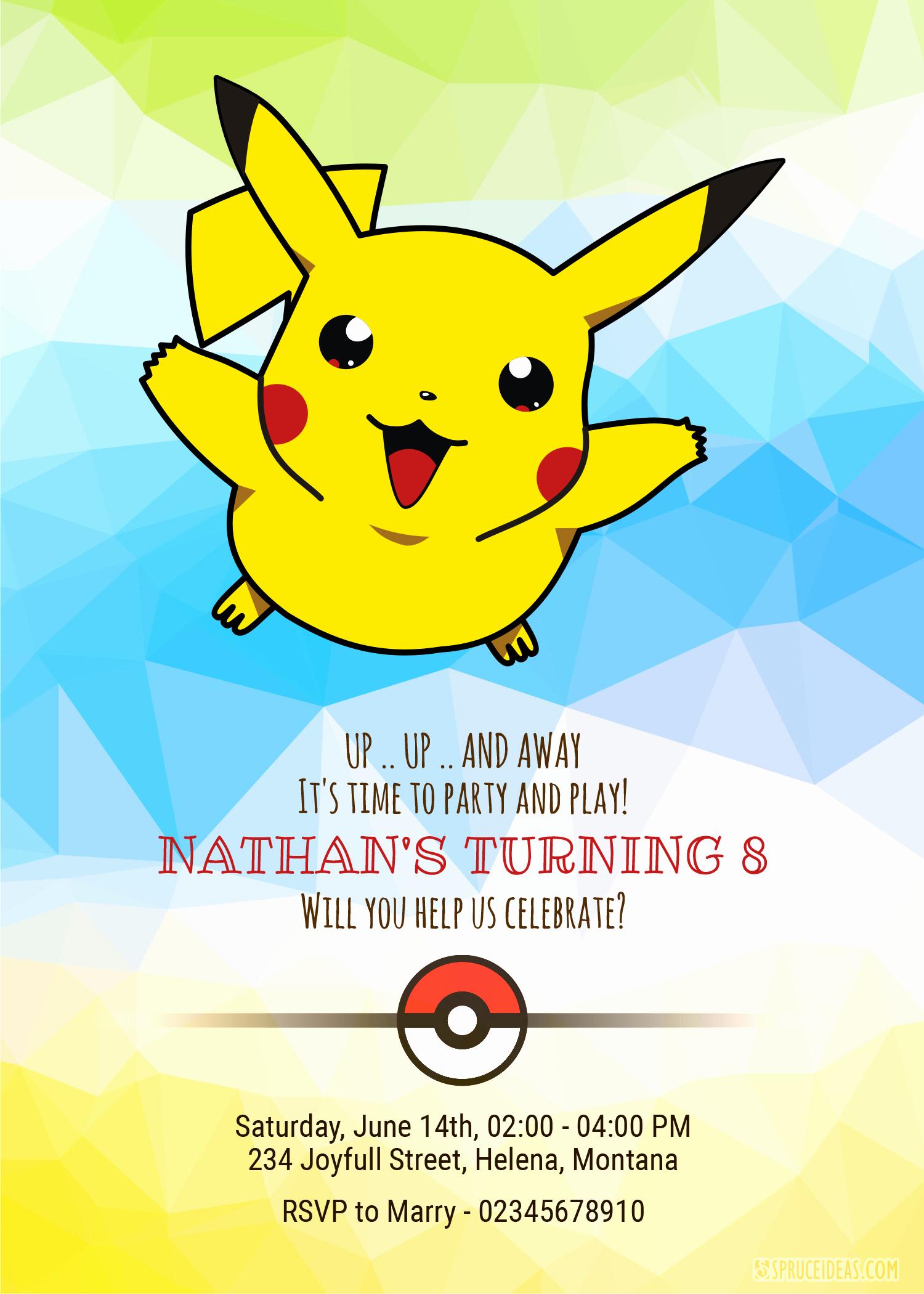 Pokemon Birthday Invitation Templates Free Best Of Personalized Pikachu Pokemon Birthday Invitation Template