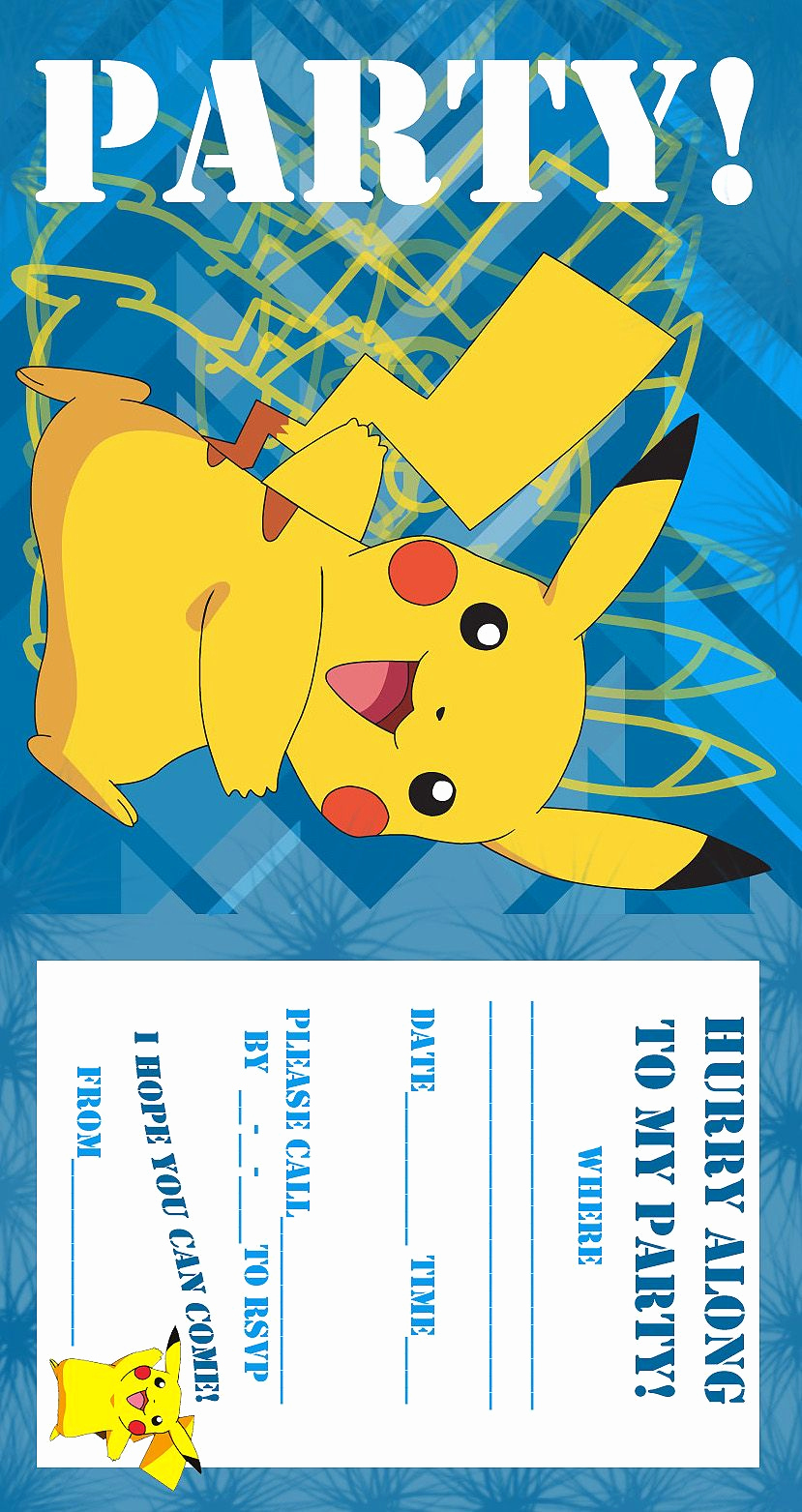 Pokemon Birthday Invitation Templates Free Elegant Pokemon Coloring Pages Birthday Party Invitation Free and