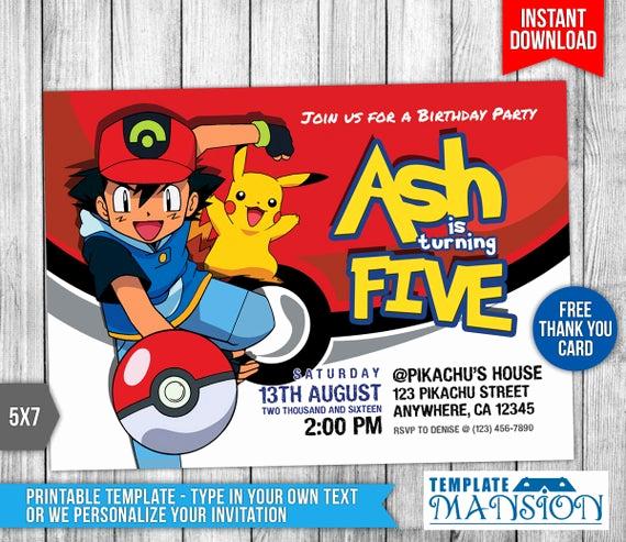 Pokemon Birthday Invitation Templates Free Elegant Pokemon Invitation Pokemon Birthday Invitation by