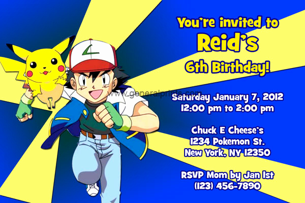 Pokemon Birthday Invitation Templates Free Inspirational Pokemon Invitations with Pikachu and ash
