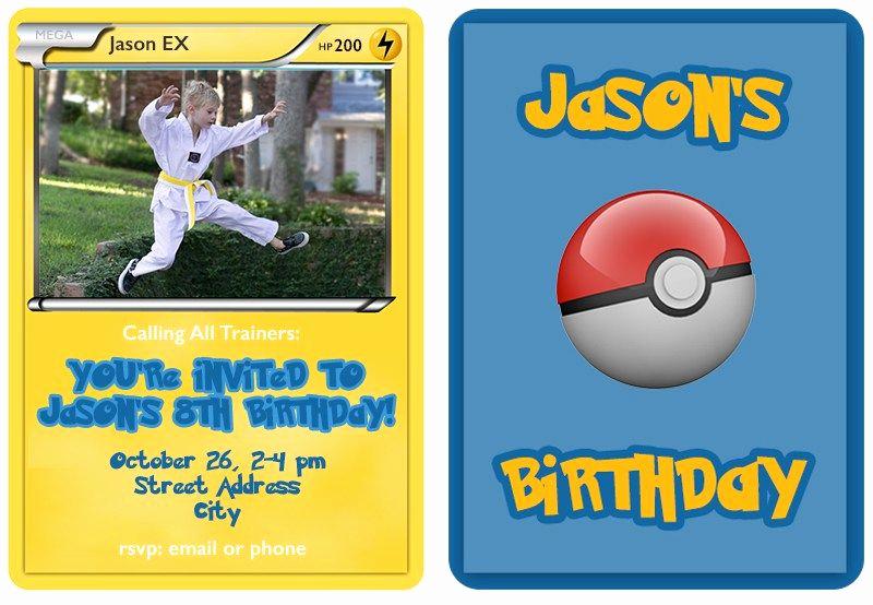 Pokemon Birthday Invitation Templates Free Unique Pokemon Trading Card Invitation Templates
