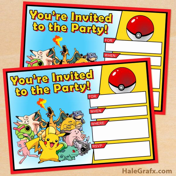 Pokemon Birthday Invitation Templates Inspirational Free Pokemon Invitation Free Printable Pokémon Birthday
