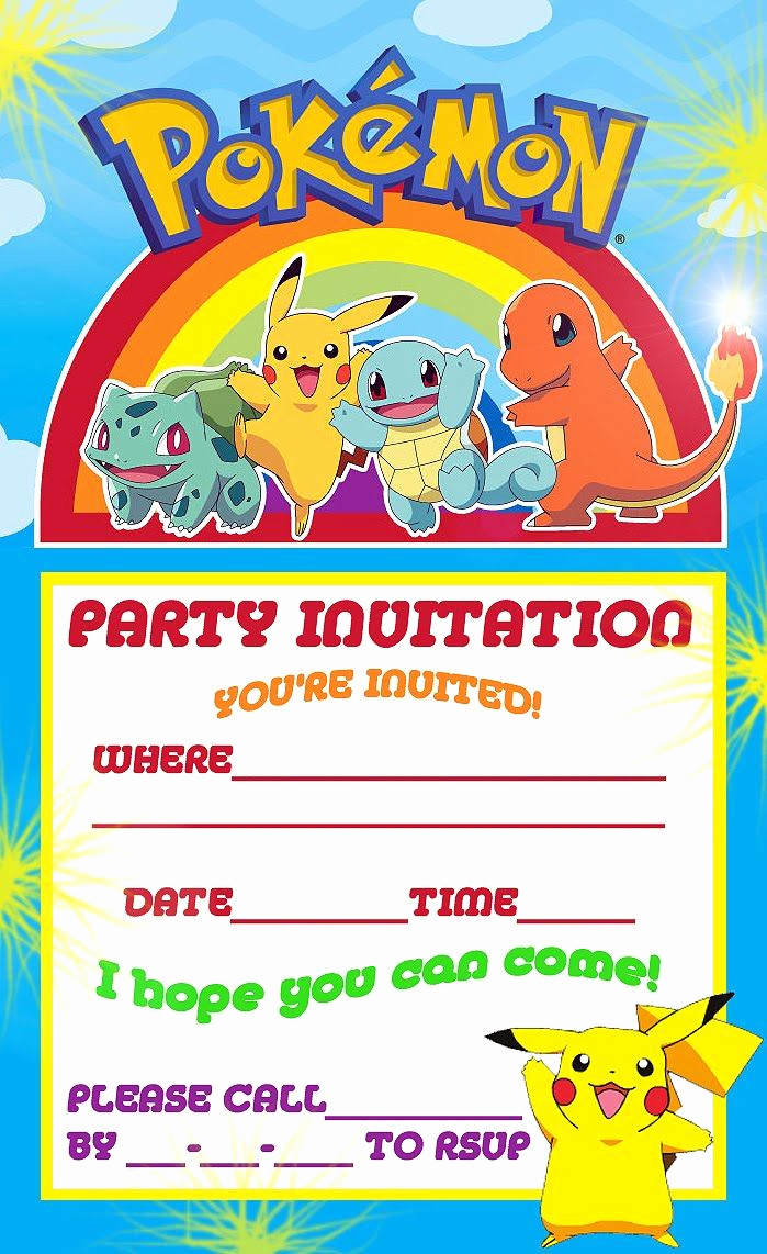 Pokemon Birthday Invitation Templates Inspirational Free Printable Pokemon Birthday Party Invitations