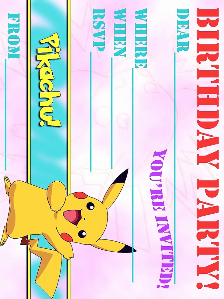 Pokemon Birthday Invitation Templates Inspirational Pokemon Coloring Pages Free Pikachu Party Invitation