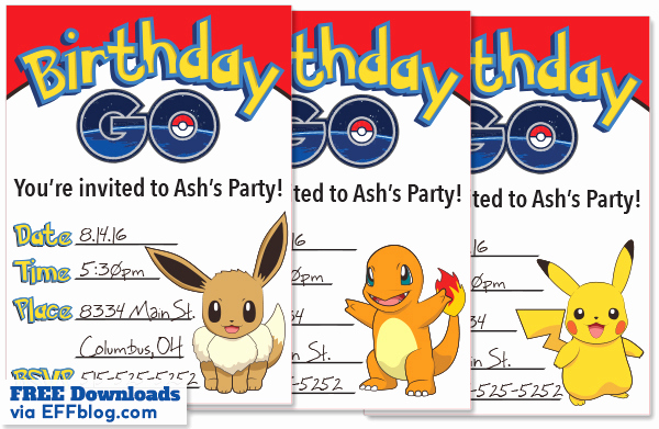 Pokemon Birthday Invitation Templates Lovely Pokémon Go Birthday Go Free Printable Invitations