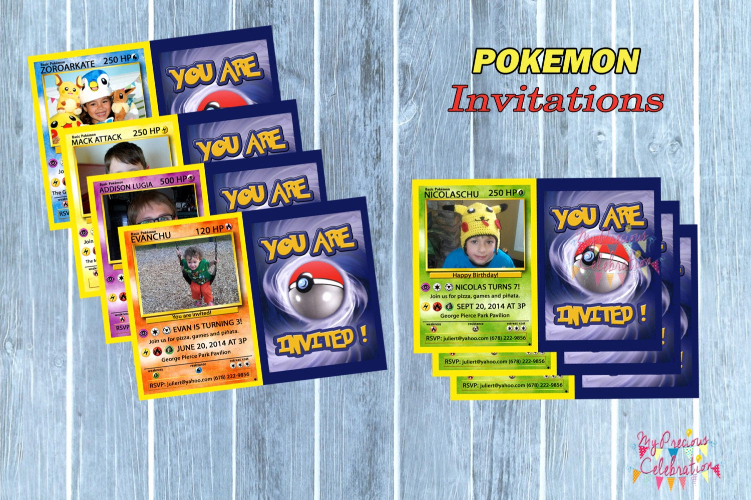 Pokemon Birthday Invitation Templates Lovely Pokemon Personalized Birthday Invitations Digital Pokemon