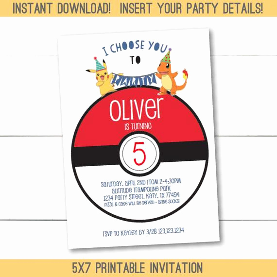 Pokemon Birthday Invitation Templates New Instant Download Editable Pokemon Birthday Party Invitation