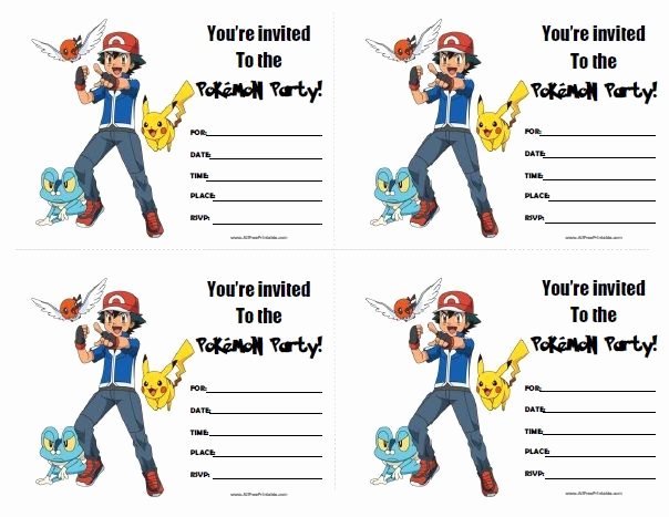 Pokemon Birthday Invitation Templates New Pokemon Birthday Invitations