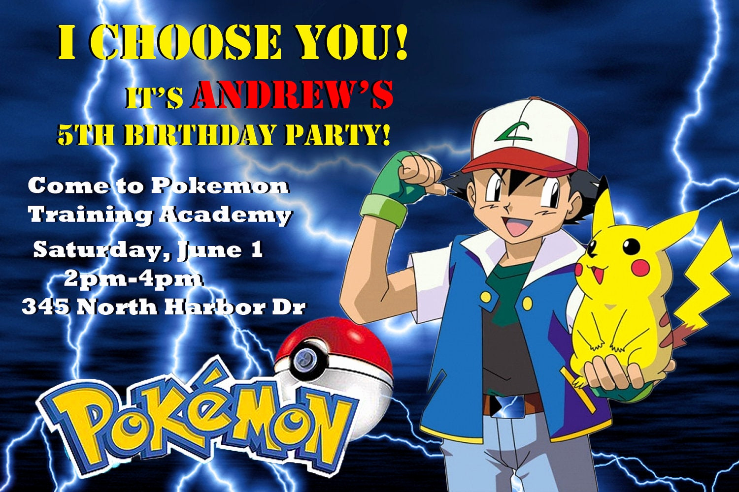 Pokemon Birthday Invitation Templates New Pokemon Customized Printable Birthday Party Invitation