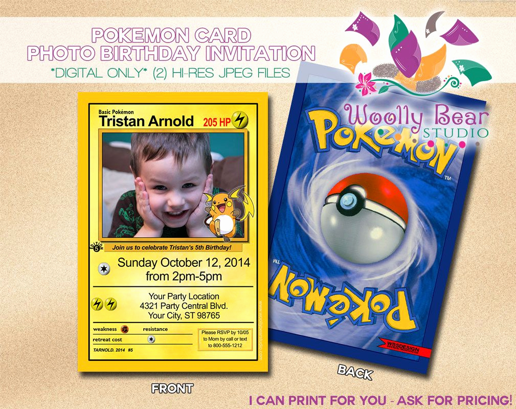 Pokemon Birthday Invitation Templates New Printable Pokemon Card Invitation by