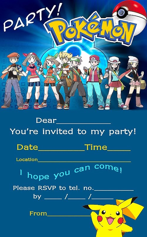 Pokemon Birthday Invitation Templates Unique Pokemon Invitation Printable Free