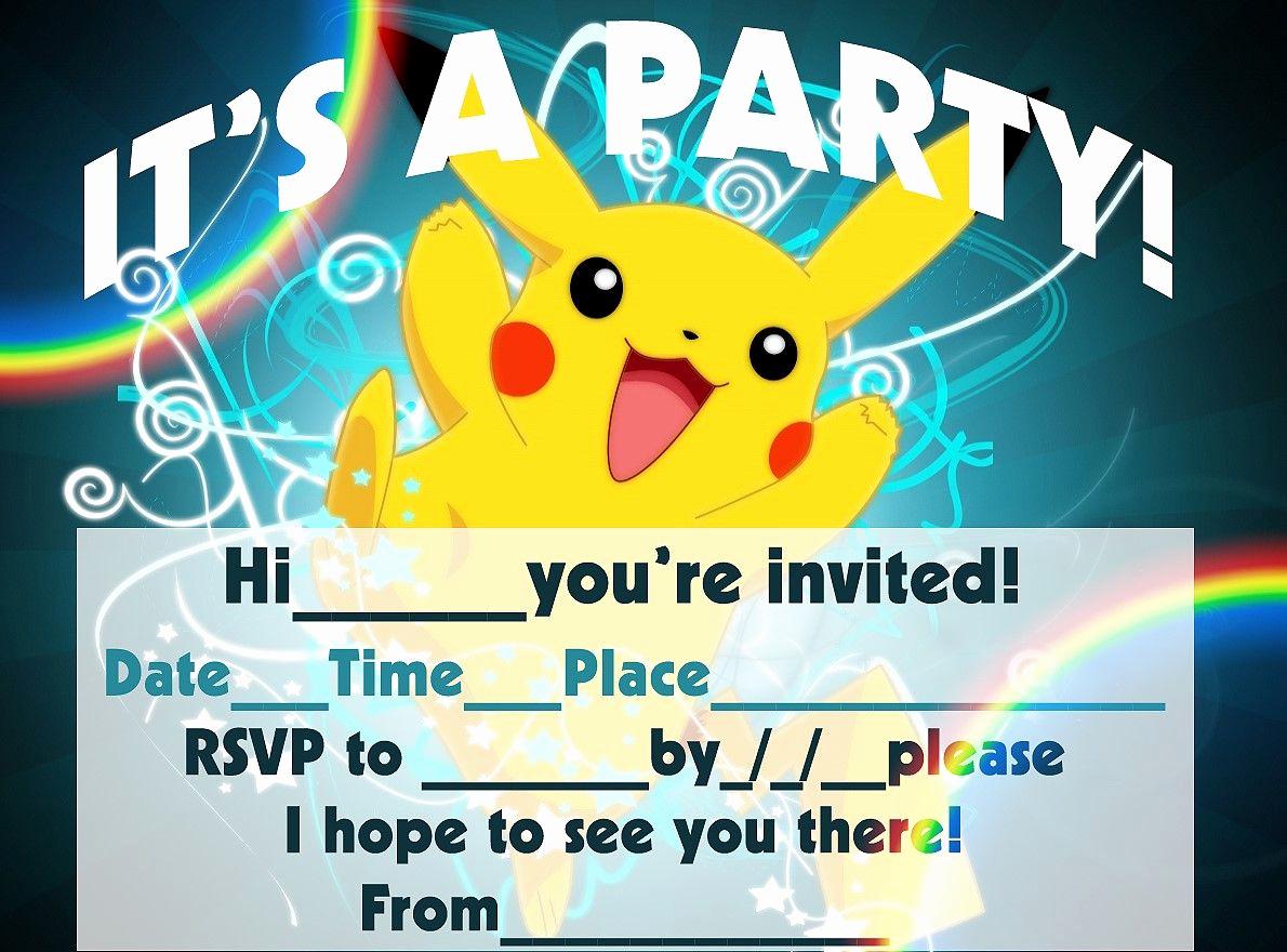 Pokemon Card Birthday Invitation Awesome Pokemon Birthday Invitation Templates Free