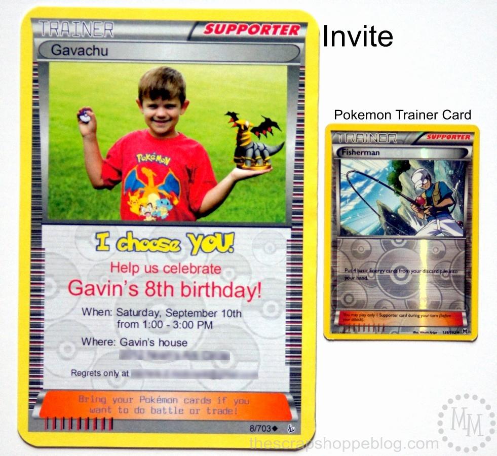 Pokemon Card Birthday Invitation Awesome Pokémon Card Birthday Invitation the Scrap Shoppe