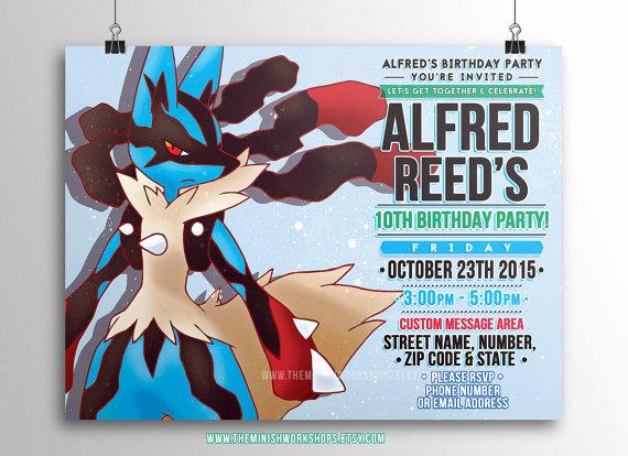 Pokemon Card Birthday Invitation Beautiful Kids Party Invitation Pokemon Lucario Printable Invitations