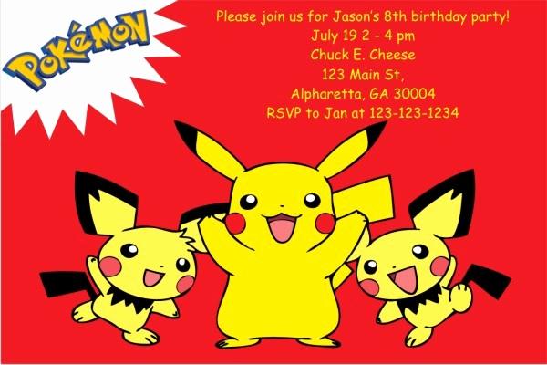 Pokemon Card Birthday Invitation Fresh 12 Superb Pokemon Birthday Invitations