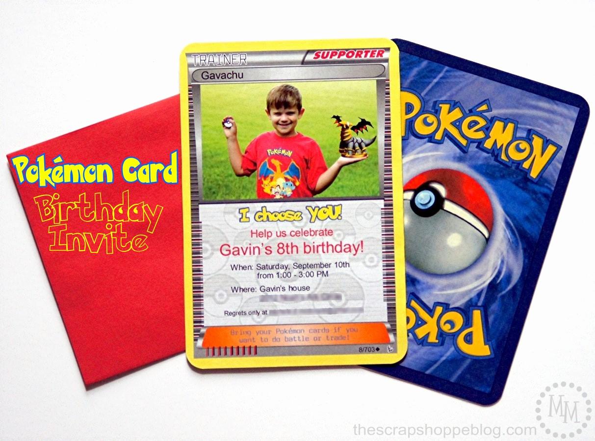 Pokemon Card Birthday Invitation Fresh Pokémon Card Birthday Invitation the Scrap Shoppe