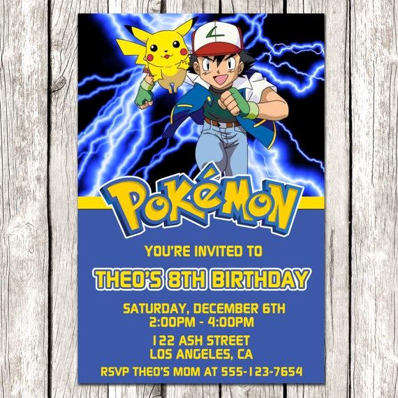 Pokemon Card Birthday Invitation Fresh Pokemon Invitation Pokemon Birthday Party Diy Printable