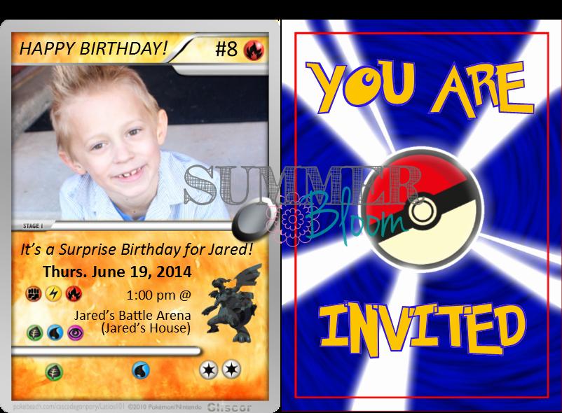 Pokemon Card Birthday Invitation Fresh Summer Bloom Teach Create Party Pokemon Birthday Party