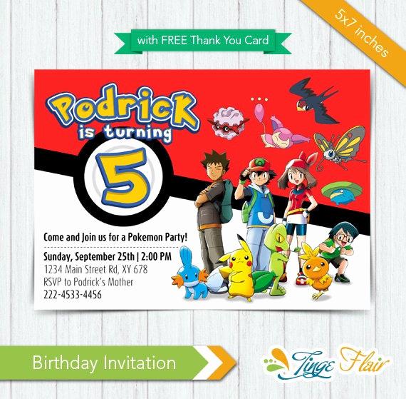 Pokemon Card Birthday Invitation Inspirational Pokemon Invitation Pokemon Birthday Invitation Pokemon Party