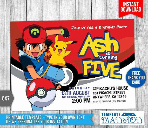 Pokemon Card Birthday Invitation Luxury 7 Best Pokemon Invitation Printables Images On Pinterest