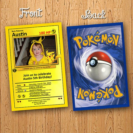 Pokemon Card Birthday Invitation Unique 60 Ideias Para Festa Pokemon