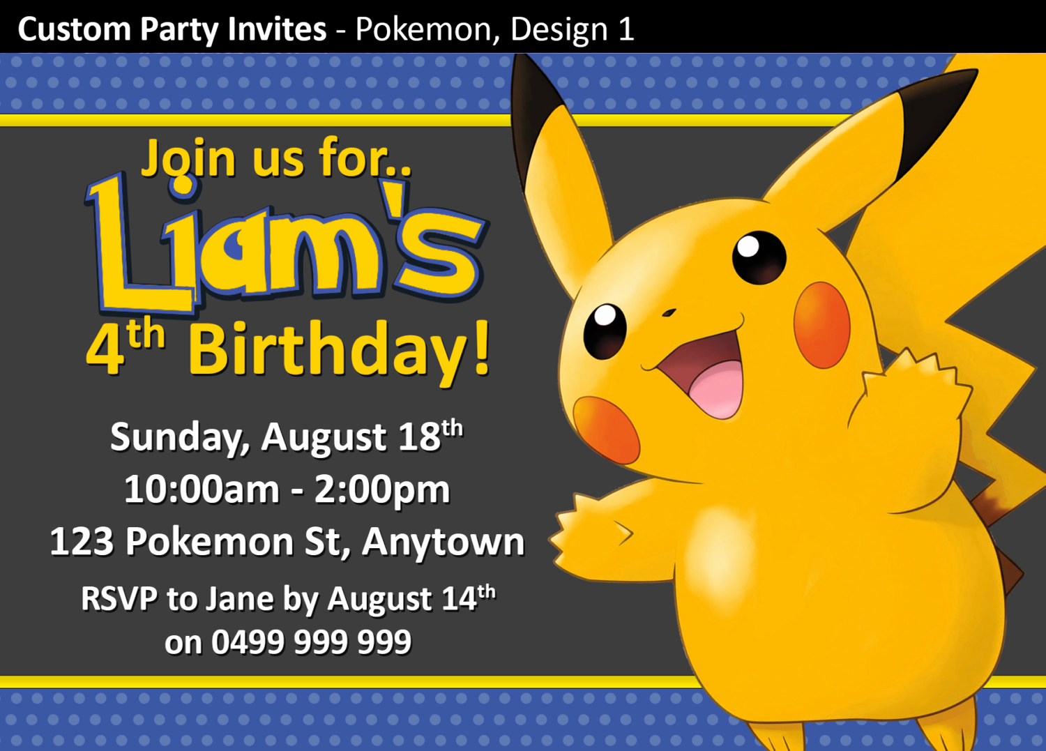 Pokemon Invitation Template Free Best Of Pokemon Birthday Party Invitations Invites by