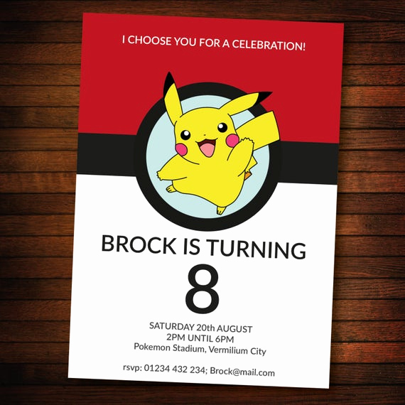 Pokemon Invitation Template Free New Personalised Pokemon Invite Self Editable Pdf 5 X 7 Inch