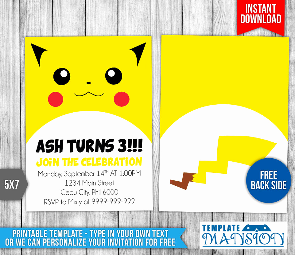 Pokemon Invitation Template Free New Pikachu Pokemon Birthday Invitation Template by