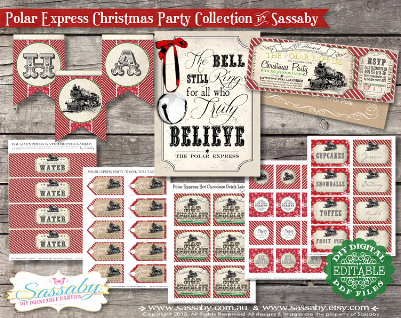 Polar Express Invitation Template Awesome Polar Express Christmas Collection Red