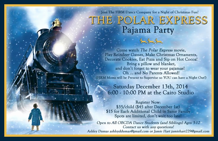 Polar Express Invitation Template Awesome Polar Express Pajama Party Invitation …