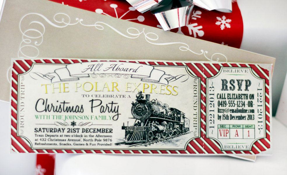 Polar Express Invitation Template Elegant Polar Express Christmas Party Invitation Instant Download