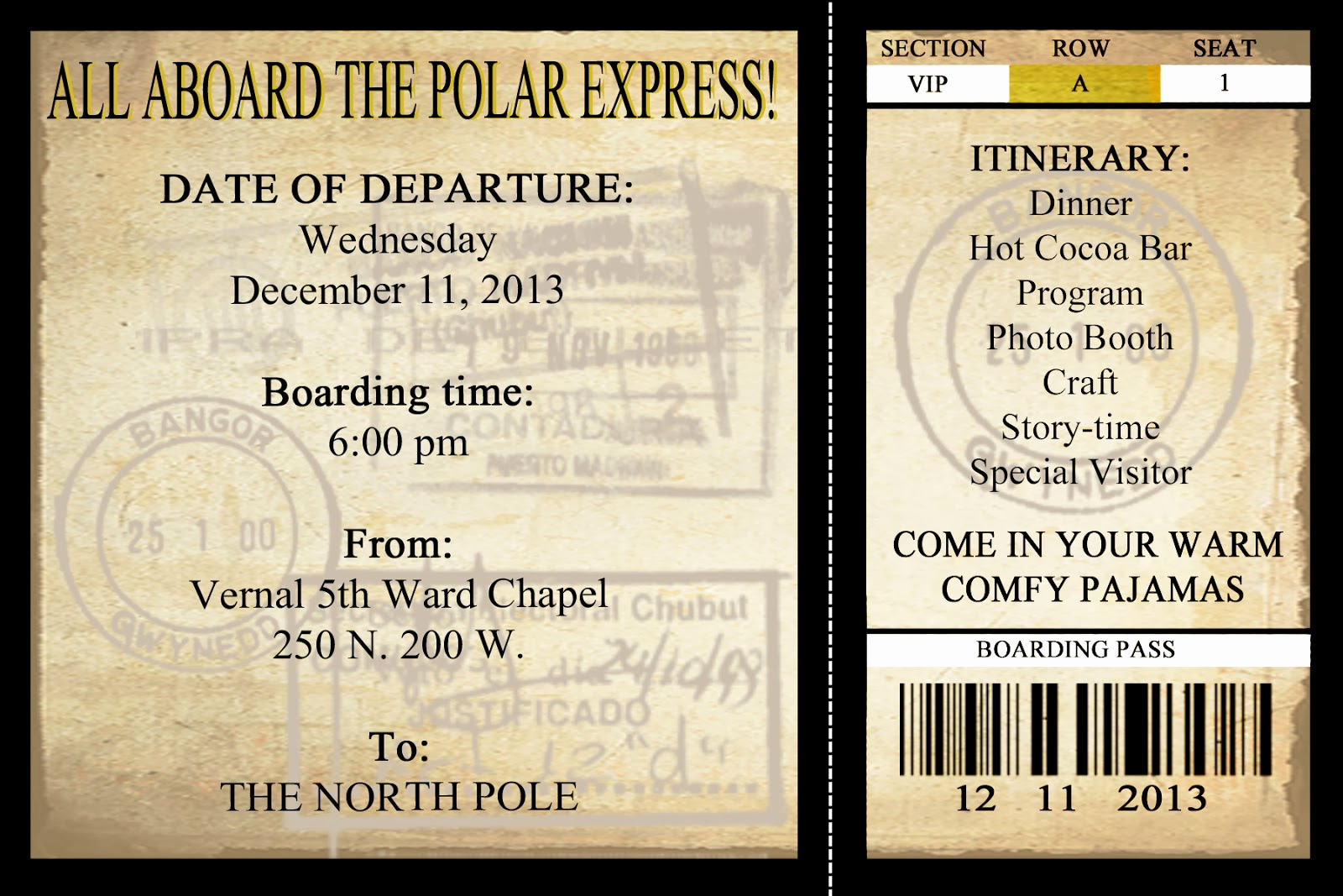 Polar Express Invitation Template Inspirational Polar Express Tickets Printables and Ticket On Pinterest