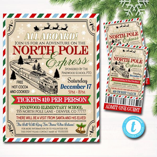 Polar Express Invitation Template Lovely Editable north Pole Polar Express Train event with Santa